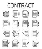 Het contract bracht vectorpictogramreeks met elkaar in verband vector illustratie