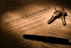 Het contract van de hypotheek stock foto's