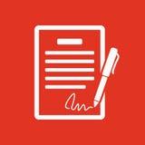 Het contractpictogram Overeenkomst en handtekening, pact, overeenstemming, overeenkomstsymbool vlak stock illustratie