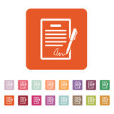 Het contractpictogram Overeenkomst en handtekening, pact, overeenstemming, overeenkomstsymbool vlak royalty-vrije illustratie