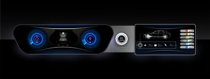 Het controlebord van de conceptenauto, rode backlight en een extra beeldscherm vector illustratie