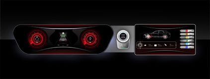 Het controlebord van de conceptenauto, rode backlight en een extra beeldschermmontages van de auto Motorbegin en autostarter royalty-vrije illustratie