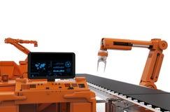 Het controlebordscherm met robotachtige wapens Royalty-vrije Stock Foto