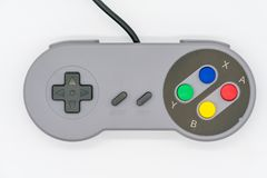 Het controlemechanisme van de bedieningshendelusb van het computerspel op wit wordt geïsoleerd dat stock foto