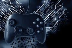 Het controlemechanisme van de spelbedieningshendel met grafische kringsraad Royalty-vrije Stock Foto