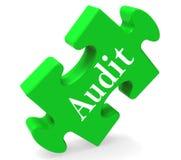 Het controleraadsel toont de Inspectie van Auditorvalidation scrutiny or Stock Foto