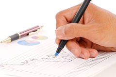 Het controleren van de Statistieken van de Verkoop stock fotografie