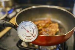 Het controleren van de temperatuur met thermometer van gebraden gerechtkip royalty-vrije stock fotografie