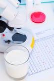 Het controleren van hoeveelheid lactose in melk royalty-vrije stock afbeeldingen