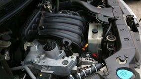 Het controleren van motorolie stock video