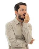 Het controleren van slechte adem Onwelriekende ademconcept royalty-vrije stock fotografie