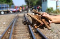 Het controleren van spoorwegen Stock Fotografie