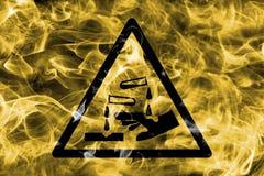 Het corrosieve teken van de de waarschuwingsrook van het substantiesgevaar Driehoekige warni Royalty-vrije Stock Afbeeldingen