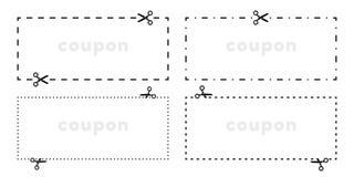 Het coupon verwijderde vectorpictogram van de schaar scherpe lijn stock illustratie
