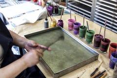 Het creëren van Ebru Art, Document marmering stock foto