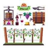 Het creëren van een wijn, winemaker hulpmiddelreeks en wijngaard Royalty-vrije Stock Foto's