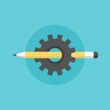 Het creëren van illustratie van het proces de vlakke pictogram Royalty-vrije Stock Afbeelding
