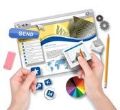 Het creëren van Websitemalplaatje met Grafische Ontwerper Stock Afbeeldingen