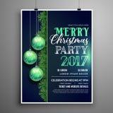 Het creatieve blauwe malplaatje van het de vliegerontwerp van de Kerstmispartij met het hangen vector illustratie