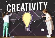 Het creatieve Concept van de de Verbeeldingsinnovatie van het Ideeënontwerp Stock Afbeeldingen