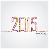 Het creatieve gelukkige nieuwe ontwerp van de jaar 2015 tekst Stock Foto