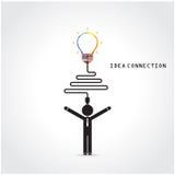Het creatieve gloeilampensymbool en teken van de kennisverbinding Stock Foto's