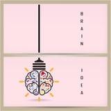 Het creatieve hersenenidee en concept van de gloeilampenbanner, ontwerp voor po Stock Foto