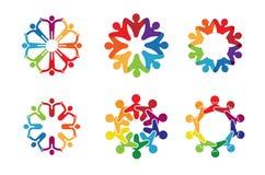 Het creatieve Kleurrijke Embleem van de de Cirkel Scherpe dansende Sport van Mensenbodys Royalty-vrije Stock Foto