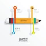 Het Creatieve Malplaatje van Infographics van het onderwijspotlood Vector Stock Foto's