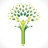 Het creatieve ontwerp van de de handboom van het jonge geitjespotlood voor steun of het helpen van concept Royalty-vrije Stock Foto