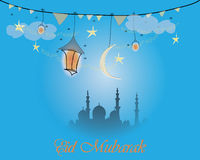 Het creatieve ontwerp van de groetkaart voor heilige maand van moslim communautair festival Eid Mubarak met maan en hangende lant Royalty-vrije Stock Foto