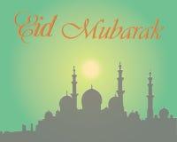 Het creatieve ontwerp van de groetkaart voor heilige maand van moslim communautair festival Eid Mubarak met maan en hangende lant stock foto
