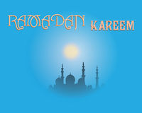 Het creatieve ontwerp van de groetkaart voor heilige maand van moslim communautair festival Ramadan Kareem met maan en hangende l stock fotografie