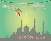 Het creatieve ontwerp van de groetkaart voor heilige maand van moslim communautair festival Ramadan Kareem met maan en hangende l stock afbeelding