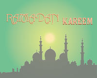 Het creatieve ontwerp van de groetkaart voor heilige maand van moslim communautair festival Ramadan Kareem met maan en hangende l Royalty-vrije Stock Afbeeldingen