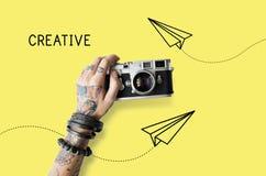 Het creatieve Ontwerpdocument Concept van het Vliegtuigpictogram Stock Afbeeldingen