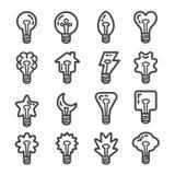 Het creatieve pictogram van de gloeilampenlijn vector illustratie