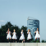 Het creatieve Team van Aantrekkelijke Tienermeisjes stelt Stock Foto's