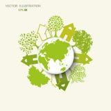 Het creatieve trekken op het wereldmilieu stock illustratie