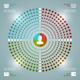 Het creatieve Vectormalplaatje van Infographics. Gestippeld Cirkeldiagrammendiagram. Het vectoreps10-Ontwerp van de Conceptenillus Stock Afbeeldingen