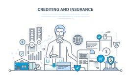 Het crediteren, bezitsverzekering, financiële zekerheid, commerciële activiteit, financiën, zaken, technologie royalty-vrije illustratie
