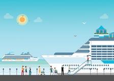 Het cruiseschip verankerde op zee haven met cruise peopl in lijn stock illustratie
