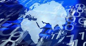 Het Cybervirus valt over de hele wereld computers aan stock illustratie
