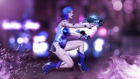 Het Cyborgmeisje met kanonnen wordt bewapend die, vrouwelijke slagrobot die, androïde vrouw sc.i-FI in de 3D die straat van de na vector illustratie