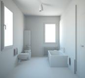 het 3D binnenlandse teruggeven van een badkamers Royalty-vrije Stock Fotografie
