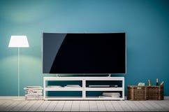 het 3d binnenlandse teruggeven van moderne woonkamer met TV en lamp Stock Foto