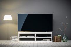 het 3d binnenlandse teruggeven van moderne woonkamer met TV en lamp Royalty-vrije Stock Afbeeldingen