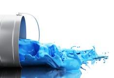 het 3d Blauwe verf bespatten uit kan Stock Afbeeldingen