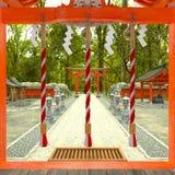 het 3D CG-teruggeven van Shinto-heiligdom stock illustratie