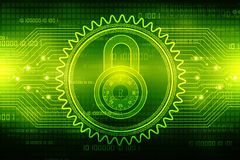 het 2d concept van de illustratieveiligheid: Gesloten Hangslot op digitale achtergrond, Internet-veiligheidsachtergrond Royalty-vrije Stock Foto